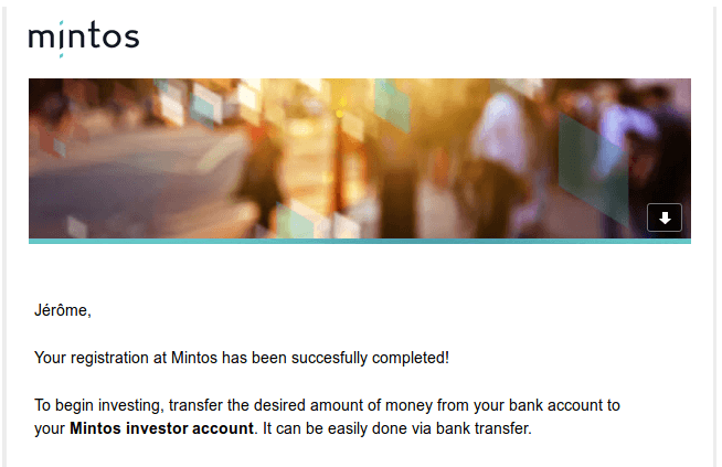 Welcome e-mail from Mintos