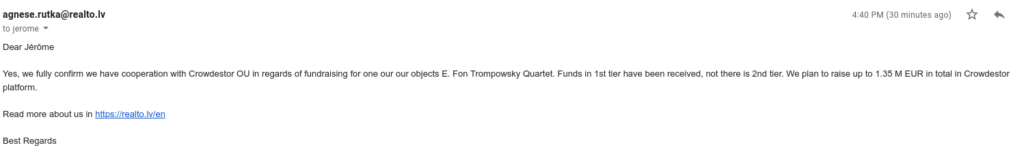 "Loan confirmation for ""E. Fon Trompowsky Quarter"" project"
