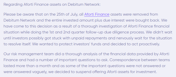 Debitum Network's announcement regarding Aforti Finance