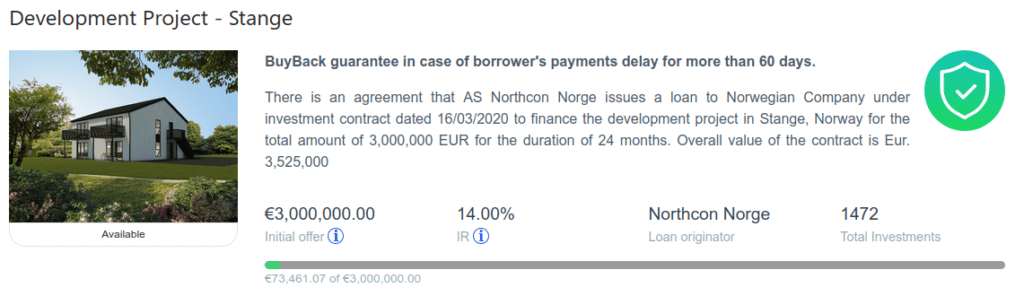 Loan from Northcon Norge on Grupeer's website