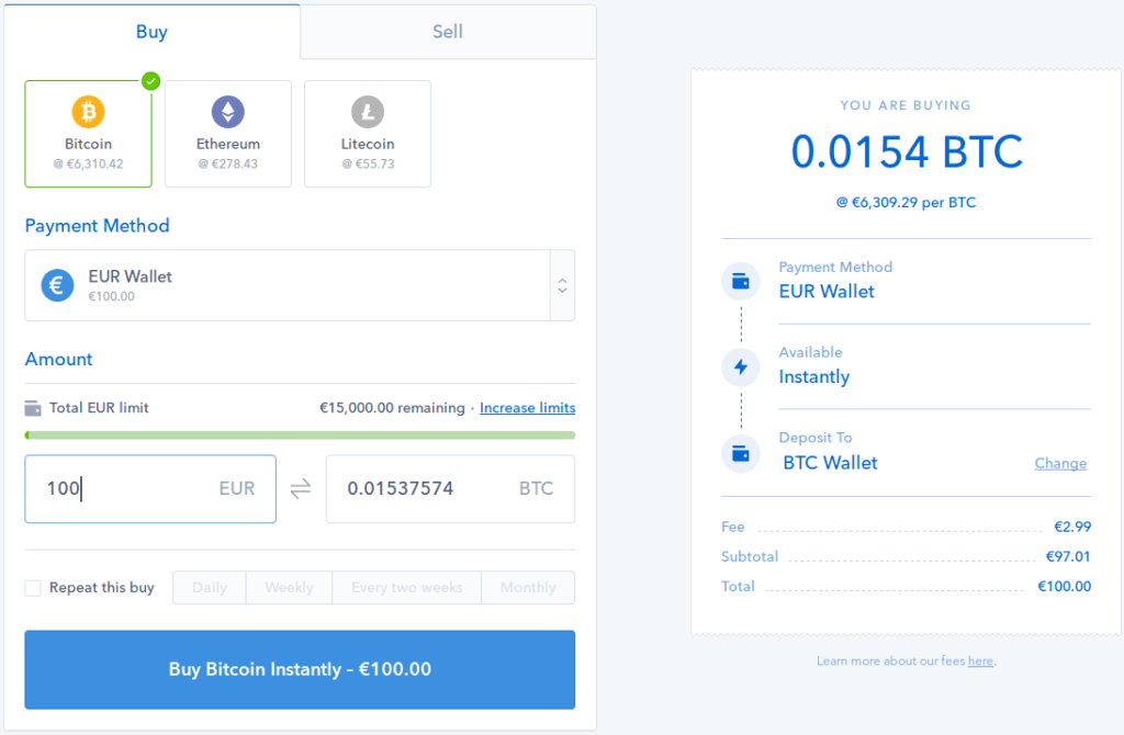 Buying BTC in Coinbase