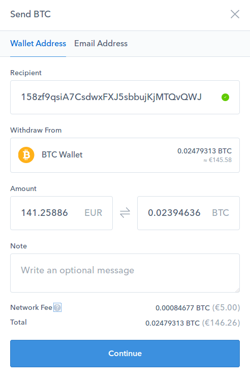 Send BTC through Coinbase