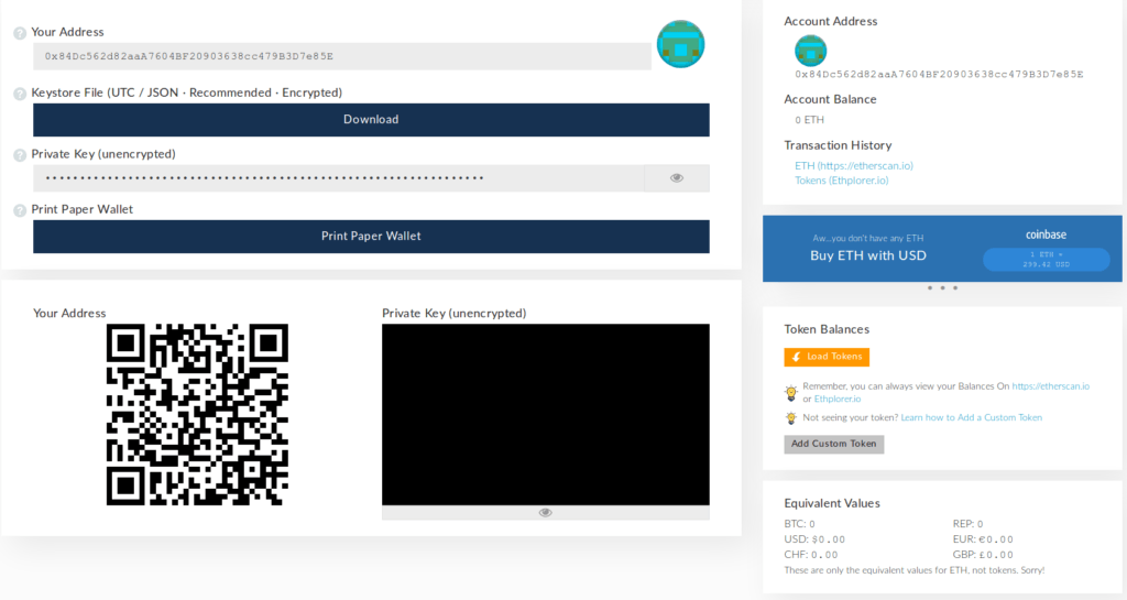 Wallet info on MyEtherWallet