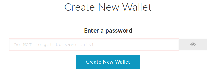 Wallet creation at MyEtherWallet