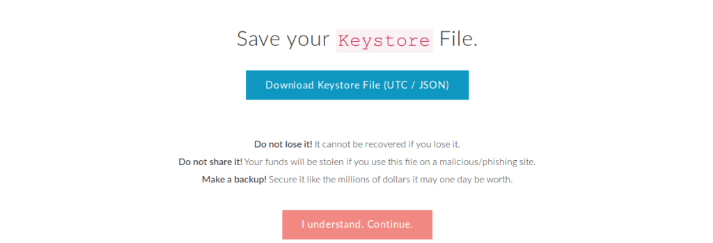 DownloadKeystore file from MyEtherWallet
